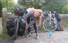 Diane packs panniers in Greenhead, UK