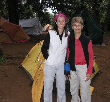 Meredith and Natalie camping on Mount Kilimanjaro