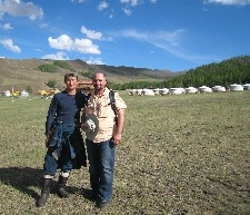 Ganaa (L) and Randy(R) in front of Temple Tourist Ger Camp