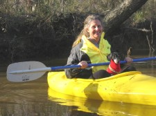 Diane with dachshund Roxy in kayak on creek in southern Virginia; CLICK TO ENLARGE