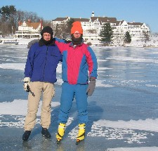 Frans & Wessel on Lake George in front of Hotel Sagamore