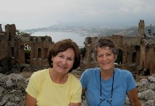 Lisa Bryant & Mary Ellen Kiddle at Greek theater in Taormina, Sicily