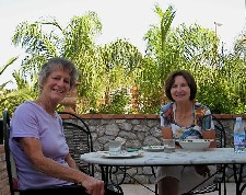 Mary Ellen Kiddle & Lisa Bryant enjoying terrace life at Villa Caterina