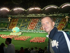 Jon Cramer after the finale of the Mass Games in May Day Stadium