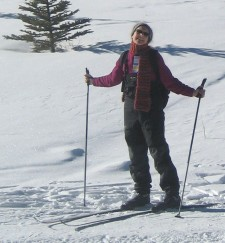 Diane skiing the slopes at Canmore Nordic Centre and Provincial Park; CLICK TO ENLARGE