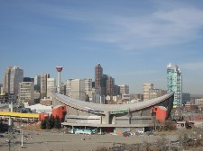 Calgary skyline with Saddledome hockey arena