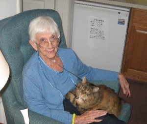 Mom with her roommate Callie, her Maine Coon cat; CLICK TO ENLARGE