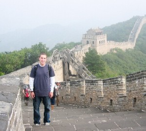 Andrew Hass at the Great Wall of China; CLICK TO ENLARGE