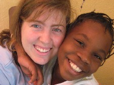 Keziah Furth (left) with Nehemie of Port-au-Prince