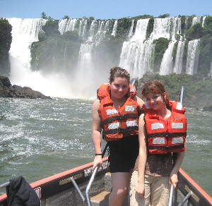 Nicole Falzone (left) and Megan Carey at Iguazu Falls, Argentina