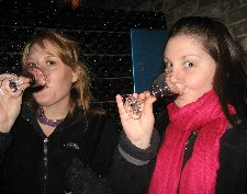 Nicole Falzone (right) and Michelle Kuecker taste wine in Mendoza, Argentina