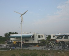 Wind turbine on campsite of Assateague State Park