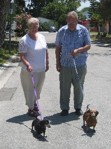 Oma and Opa walk Roxy and Sabrina