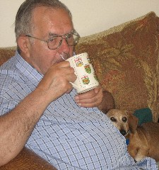 Opa with Sabrina on couch