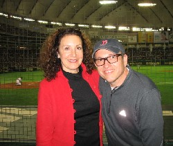 Ellen Rovner and Michael Zimman at the Tokyo Dome during the Red Sox game