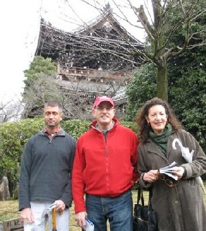 Glenn Roberts, Jon Zimman, and Ellen Rovner in front of Buddhist Temple in Kyoto