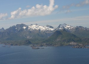 First sight of Lofoten on flight from Bodo