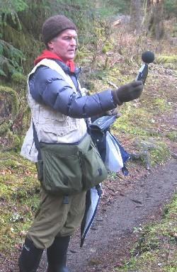 Gordon holds his sound meter