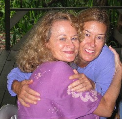 Janet (left) and Virginia hugging
