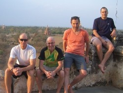 Curt Allen (left), Gary Kelly, Trond Skramstad, and Michael Romanow in ancient city of Bagan, Burma (Click to ENLARGE)
