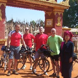 Trond Skramstad (left), Curt Allen, Michael Romanow, Gary Kelly, Lizzie (Myanmar guide) at the