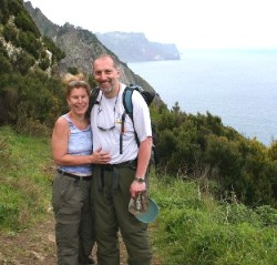 Terry and David at the Northern cliffs of Boca do Risco, Madeira (Click to ENLARGE)