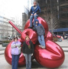 Connie (left), Corry, Len, and  Ian in New York's financial district (Click to ENLARGE)