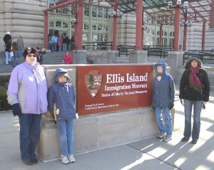 Connie (left), Owen , Ian, and  Corry at the entrance to the Ellis Island Museum (Click to ENLARGE)