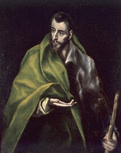 El Greco, St. James (Santiago el Mayor), about 1610-14. Oil on canvas, 39 1/2 x 31 5/8 inches. Collection of Museo del Greco, Toledo. (El Greco, also Domenikos Theotokopoulos, Greek, active in Spain, 1541–1614)