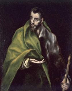 El Greco, St. James (Santiago el Mayor), about 1610-14. Oil on canvas, 39 1/2 x 31 5/8 inches. Collection of Museo del Greco, Toledo. (El Greco, also Domenikos Theotokopoulos, Greek, active in Spain, 1541–1614)