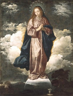 Diego Rodriguez de Silva y Velázquez, The Immaculate Conception, 1618-1619. Oil on canvas, 53 1/8 x 40 inches.  Collection of the National Gallery, London. Bought with the aid of The Art Fund, 1974.  (Diego Rodriguez de Silva y Velázquez, Spanish, 1599-1660)