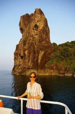 Shelley at Tower Rock in Mergui Archipelago (Click to ENLARGE)
