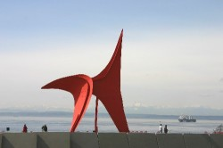 Eagle (1971) from Alexander Calder with the Puget Sound in the background (Click to ENLARGE)