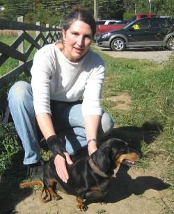 Dachshund Bella with her human companion