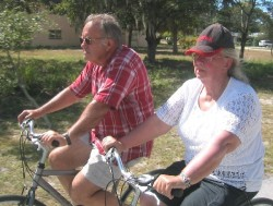 Francis (right) and Karel cycle on Pinellas trail in 2004