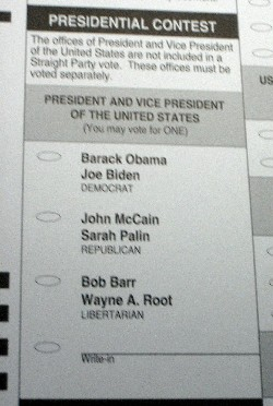 The ballot for the 2008 US presidential elections