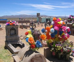 Graves colorfully decorated in Abra Pampa, Argentina
