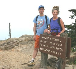 Wessel and Diane on top of the highest peak east of Mississippi River (6684 ft) in Mount Mitchel State Park, NC