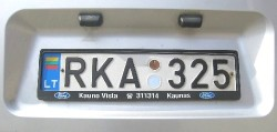 License plate from Lithuania issued before it joined the European Union in 2004