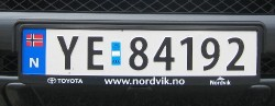 License plate from Norway