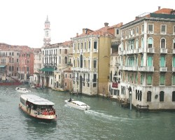Heavy boat traffic in the Canal Grande