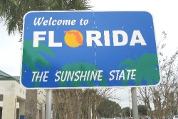 Sign at Florida welcome center on I-95