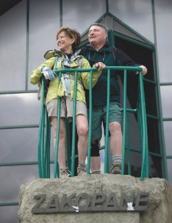 Linda (left) and Harvey Weiner at Zakopane, Poland, beginning a hike up the High Tatras.