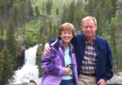 Jeanne (left) and Harvey Hansen at the Lower Falls of the Grand Canyon in Yellowstone National Park