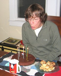 Wessel blows candles of birthday cake in 2008