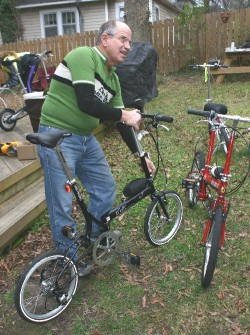 Bruce Hermann from Neighborhood Transportation came to Durham with several Bike Friday models