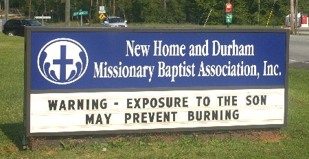 Warning - Exposure to the son may prevent burning; Durham, NC