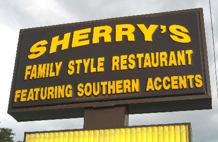 Familie style restaurant Sherry's, featuring southern accents; Ramseur, NC