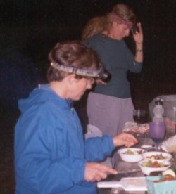Nancy Jordan with headlamp during Girls getaway in the 1990s