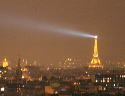 Paris at night with its monuments bathed in illumination
